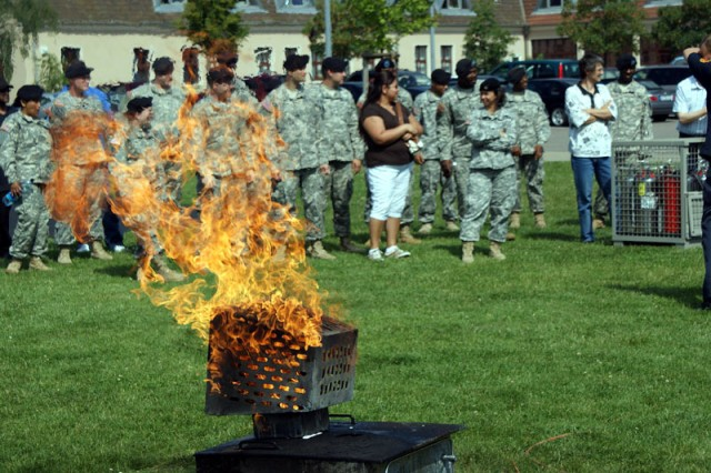 A fire is simulated during the Fire Prevention training June 25 in Mannheim, Germany, held as part of Installation Management Command-Europe's Fire Prevention Campaign.