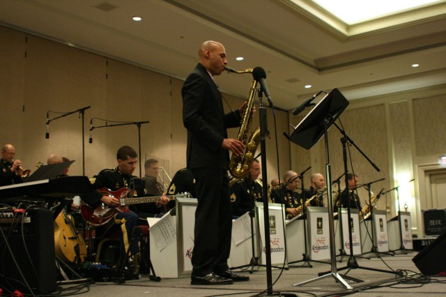 Joshua Redman, famed Jazz saxophonist, is seen here alongside the Jazz Ambassadors as they perform as part of the MENC Music Week in Education conference in Washington, D.C.