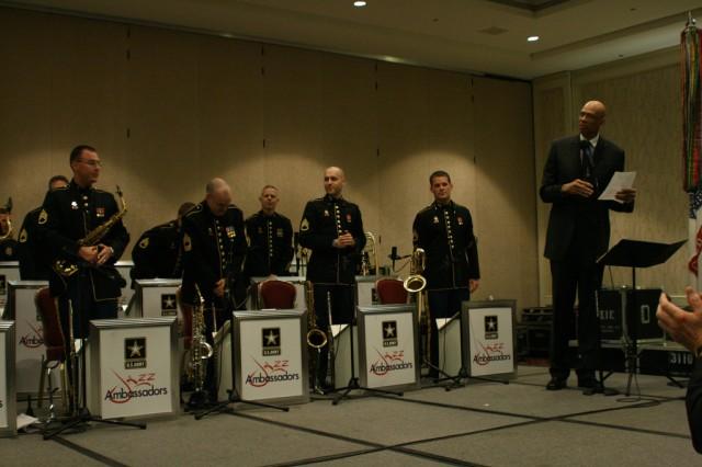 Kareem Abdul-Jabbar recognizes the Jazz Ambassadors at the MENC Music Education Week in Washington, D.C.
