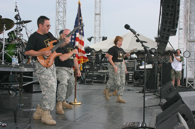 """The Army """"Volunteers"""", a musical group that is part of the U.S. Army Field Band from Washington, D.C. performs at Country USA in Oshkosh, Wi. 27 June 2009."""