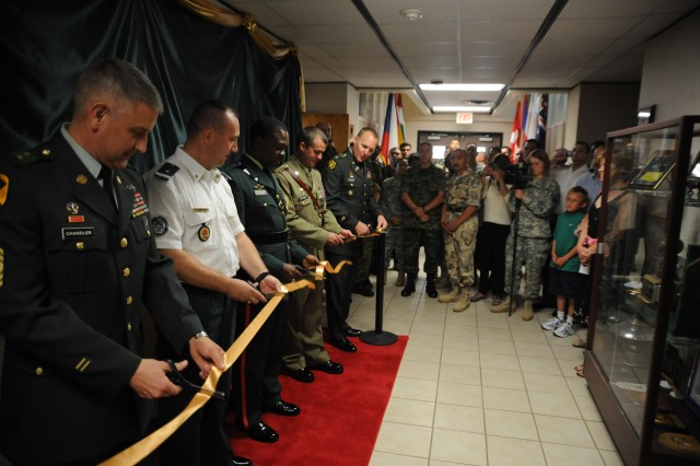The U.S. Army Sergeants Major Academy leadership and International Student Hall of Fame inductees cut the ribbon officially opening the Hall of Fame, June 26.