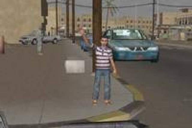 """A local child waves to the convoy in Virtual Iraq.    Reaching across stigma to a younger crowd:  Mental health therapists hope that Virtual Iraq's similarity to video games will help draw younger traumatized troops to the treatment.  """"They may be more likely to seek care like this than just going and talking,"""" said Dr. Beth Davis, a deployment behavioral psychologist at Andrews Air Force Base, Md., one of eight stateside Air Force installations that started using Virtual Iraq this year.  Still, stigma remains a primary adversary in treating post-traumatic stress disorder, according to Dr. Barbara Rothbaum, a virtual reality therapy pioneer and director of Emory University's Trauma and Anxiety Research Program.  """"Some people in the military don't want the stigma,"""" she said. """"I've had people tell me it makes them look weak.""""  Piled on top of all that is the notion that mental health therapy is not what a strong soldier should need.  """"They were good and they were strong and it isn't a sign of weakness,"""" Rothbaum said. """"They go into the hospital for a physical injury and that's not a sign of weakness. We know these are all the wounds of war."""""""