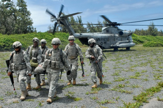 BELLOWS AIR FORCE STATION, Hawaii - A team of Soldiers form the 18th MEDCOM unload a simulated casualty from a CH-53 helicopter during the unit's first training event since it's activation in November 2008.