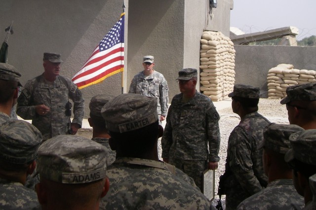 Chaplain Henry McCain is promoted to the rank of Major during his second deployment in 2008 at Camp Striker in Baghdad, Iraq while assigned to the 720th Military Police Battalion. (Courtesy Photo)