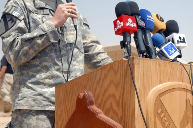 """BAGHDAD - San Antonio native, Capt. Brent Kinney, commander, Company E, 1st """"Black Knights"""" Battalion, 5th Cavalry Regiment, attached to the 1st """"Ironhorse"""" Brigade Combat Team, 1st Cavalry Division presented a speech at the ground breaking ceremony of Baghdad Island June 22. Baghdad Island was once the """"hot spot"""" of Baghdad, where all the large ceremonies were held or if someone just wanted to get away, said civil affairs team leader, Capt. William Murphy, a Waltham, Mass. native."""