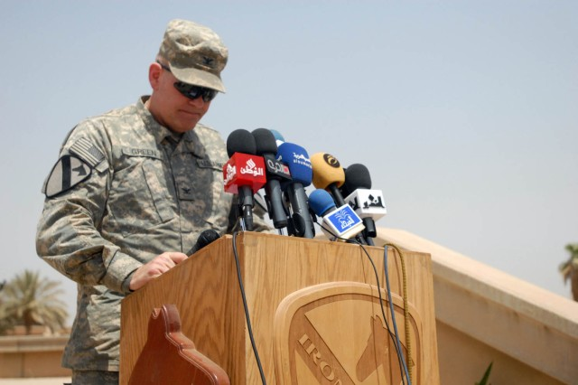 """BAGHDAD - Sioux Falls, S.D. native, Col. Tobin Green, commander, 1st """"Ironhorse"""" Brigade Combat Team, 1st Cavalry Division commander, presented a speech at the ground- breaking ceremony of Baghdad Island June 22. This ground breaking ceremony marks not only a continuation of support but also a significant milestone, said Green. """"The work that is beginning today is not a coalition effort, but a joint effort between the coalition and the Iraqi Government, a true partnership."""""""
