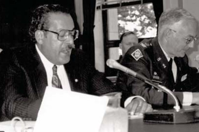Alfie Khalil speaking on behalf of the Presidio of Monterey before the House Armed Services Committee on March 1992, when the installation was in danger of closure due to the Base Realignment and Closure Commission.  Khalil will continue to support the personnel on the Presidio in the form of a schoolhouse dedicated in his memory November 2010.