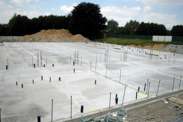 The slab has been poured for the new Brussels American School gymnasium. This is one of the first improvements to the USAG Brussels' Sterrebeek Annex in more than 40 years. It's expected to be complete in June 2010.