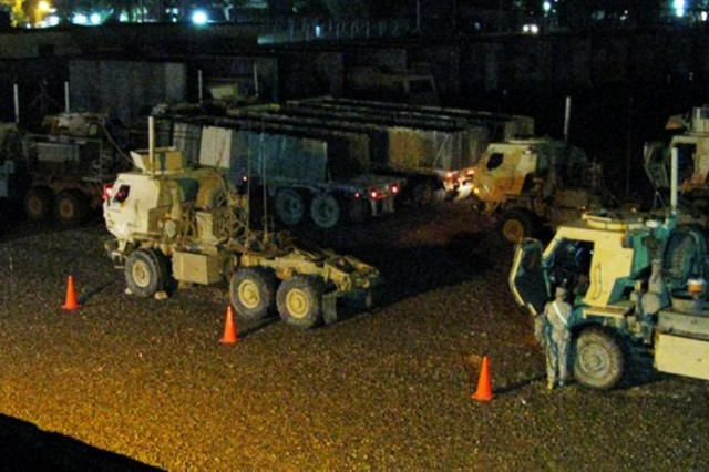 CAMP TAJI, Iraq - Soldiers of the 1538th Transportation Company, 419th Combat Sustainment Support Battalion, 10th Sustainment Brigade, get staged for their final convoy while on their year-long deployment to Iraq June 5
