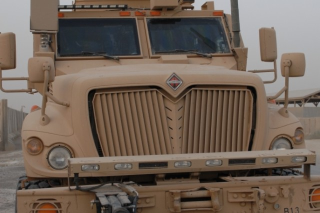 BAGHDAD – A Mine Resistant Ambush Protected Vehicle in 2nd Battalion 142nd Infantry Division, 56th Infantry Brigade Combat Team, stands ready for a convoy mission from Camp Victory in Baghdad past the city of Ar Rutbah in far western Iraq, June 22.