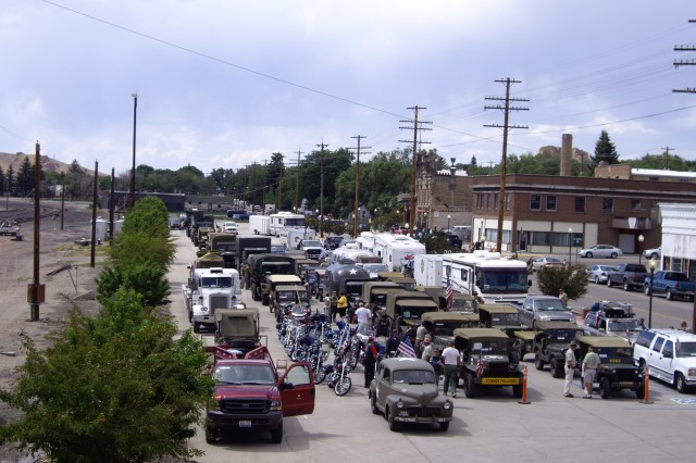 More than 40 vehicles with the Military Vehicle Preservation Association Transcontinental Motor Convoy lined up with other vehicles preparing to participate in the Flaming Gorge Days Parade, Green River, Wyo., June 27, 2009.