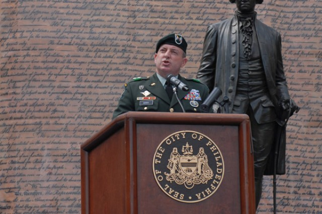 Maj. Gen. David A. Morris, commanding general of U.S. Army Civil Affairs and Psychological Operations Command (Airborne), speaks to a crowd in Philadelphia during the Independence Day Celebration, July 4. The 304th Civil Affairs Brigade, which recently returned from duty in Iraq where the unit assisted in restoring the country's government, also marched in the parade. USACAPOC(A) traces its roots back to when George Washington directed the Army to restore governance to Philadelphia in the late 1700s. ""