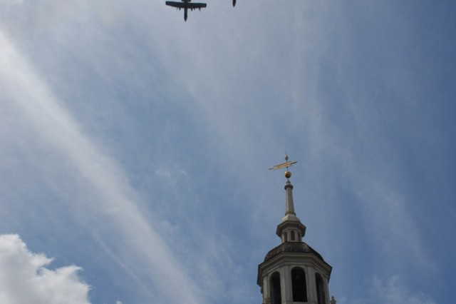 """A10 Thunderbolts fly over Independence Hall during the Independence Day Celebration in Philadelphia, July 4. Soldiers from the 304th Civil Affairs Brigade, who recently returned from a deployment where they assisted in rebuilding Iraq, also marched in the parade. The U.S. military's history of conduction civil affairs operations can be traced back to when George Washington directed the Army to restore governance to Philadelphia. """""""