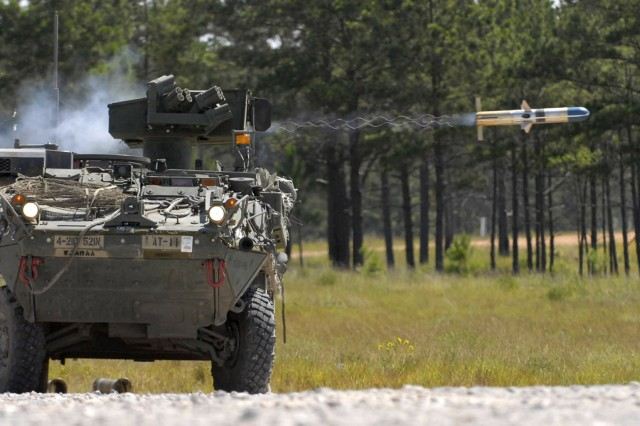 A Stryker vehicle crew belonging to the 4th Brigade, 2nd Infantry Division, fires a TOW missile during the brigade's rotation through Fort Polk's, Joint Readiness Training Center.