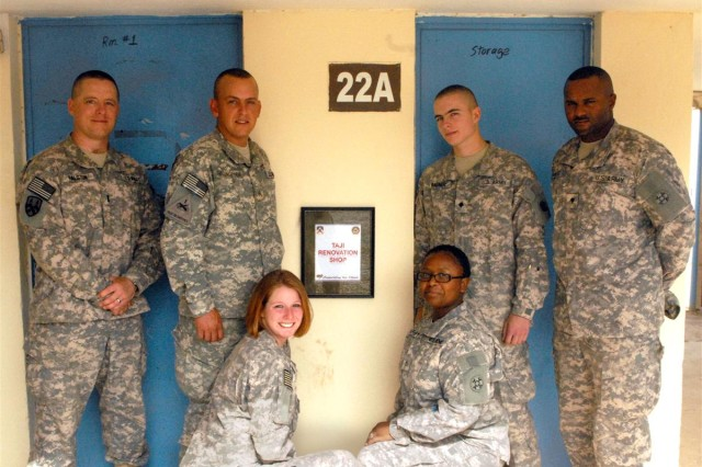 From left to right First Lt. Stephen Ralston; Sgt. Frank Billingham; Spc. Nikki Reynolds; Pfc. Alysa Carter; Spc. Benjamin Wagner; and Spc. Anthony Cumming manage the Taji Renovation Shop at Camp Taji, Iraq. These Soldiers are currently deployed with 855th Quartermaster Company, 398th Combat Sustainment Support Battalion, 10th Sustainment Brigade in support of Multi-National Division - Baghdad
