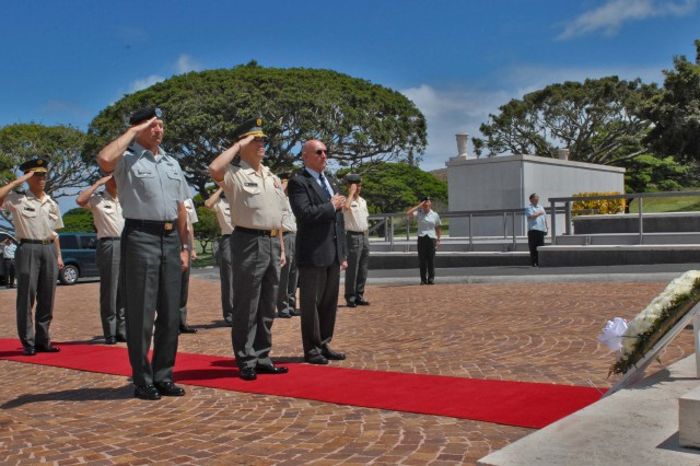 HONOLULU, Hawaii - (from left) Lt. Gen. Benjamin R. Mixon, commanding general, U.S. Army, Pacific, Japanese Armed Forces Gen. Hibako, chief of staff of the Japan Ground Self Defense Force and Gene Castanetti, director of the National Memorial Cemetery of the Pacific, salute as Taps is played.