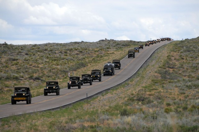 The Military Vehicle Preservation Association 2009 Transcontinental Motor Convoy makes its way to the Lincoln Highway Bridge July 2, 2009. The MVPA 2009 TMC, which is traveling from Washington, D.C. to San Francisco, California to retrace the original 1919 route along the Lincoln Highway, stopped on Dugway Proving Ground, Utah, during its trek.