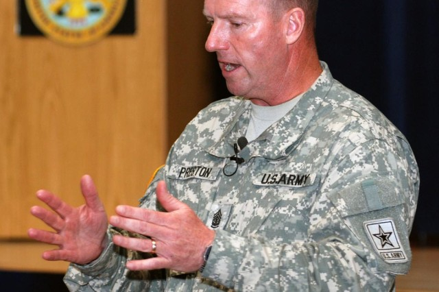Sgt. Maj. of the Army Kenneth O. Preston highlights key points of the Army's Year of the Noncommissioned Officer during a town hall forum with Soldiers July 7, at Fort Richardson, Alaska.