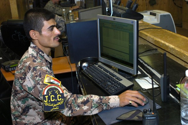 Iraqi National Police Lt. Hayhav works in the 6th Squadron, 9th Cavalry Regiment Tactical Operations Center at Forward Operating Base Sykes. He assists with the flow of information between the Iraqi National Police and U.S. Forces.
