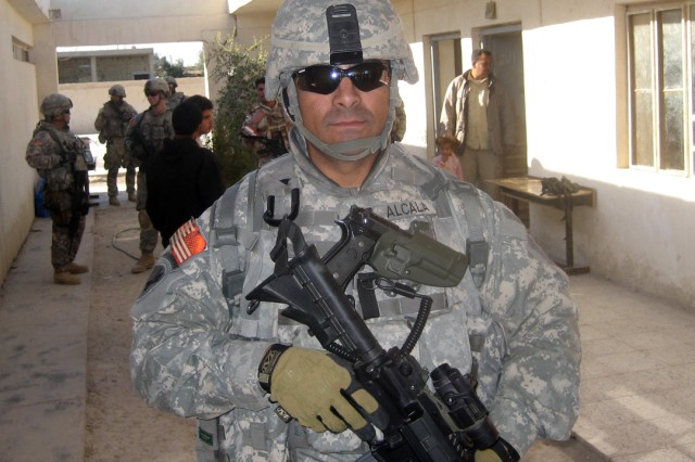 "BAGHDAD - Staff Sgt. Dionisio ""Danny"" Alcala, a civil affairs Soldier assigned to the 425th Civil Affairs Battalion, 364th Civil Affairs Brigade, 1st Cavalry Division, re-enlisted in the Army last year after an eight-year break in service. Alcala, who is from Los Angeles, said he enjoys his job in Army Civil Affairs and hopes to one day attain the rank of sergeant major."