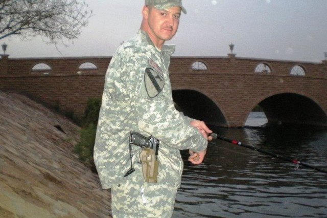BAGHDAD - Chief Warrant Officer 2 Rodney Jarvis, a native of Akron, Ohio, 46th Engineer Combat Battalion (Heavy), 225th Eng. Brigade, enjoyed the outdoors and loved to fish and hunt.  He was able to continue his hobby while deployed to Iraq and brought along his Soldiers when taking time to relax.