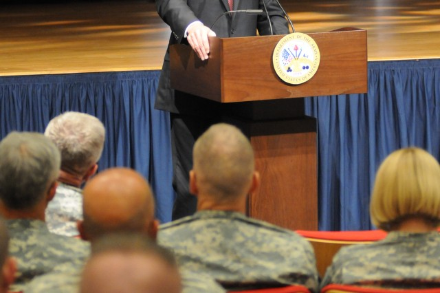 Secretary of the Army Pete Geren addresses Army officers, enlisted and civilian employees during a ceremony July 16, at the Pentagon. The ceremony honored Geren as he prepares to leave his job as secretary. Geren served the Army beginning March 9, 2007, as the Army's 20th secretary.