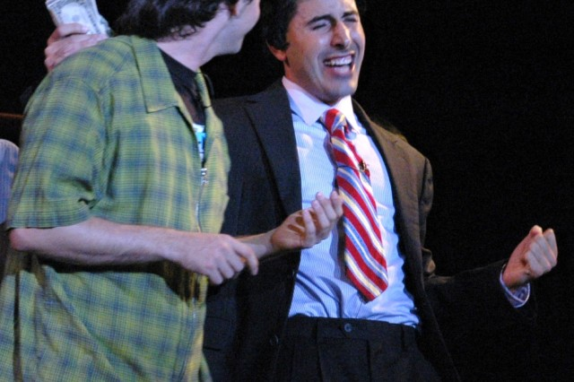 """Capt. Theo Voudouris, staff judge advocate, 94th Army Air and Missile Defense Command, who has devoted much of his life to musical art and performance plays Glen Guglia in the Diamond Head Theater's premiere performance of """"The Wedding Singer"""", here in Honolulu."""