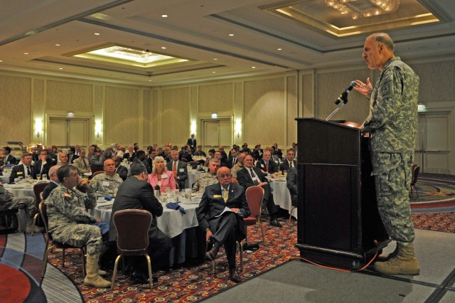 Deputy Chief of Staff G-8 Lt. Gen. Stephen M. Speakes addresses Army modernization strategy to  members of the Association of the U.S. Army at their Land Warfare breakfast series July 16.