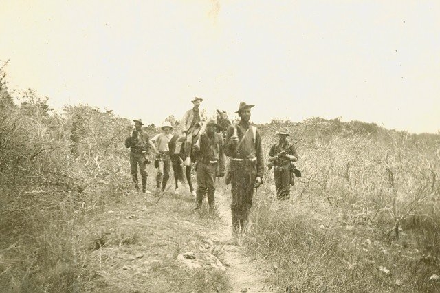 Cavalry on Foot: Image of soldiers from the 9th Cavalry Regiment. (Spanish-American War Survey Photograph Collection).