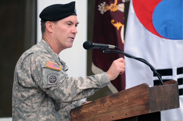 Col. Jeffrey B. Clark, commander of 65th Medical Brigade, Korea, was the featured speaker at a July 10 ceremony to celebrate the transformation of the Humphreys Health Clinic from a troop medical clinic to a family-centered health care facility.
