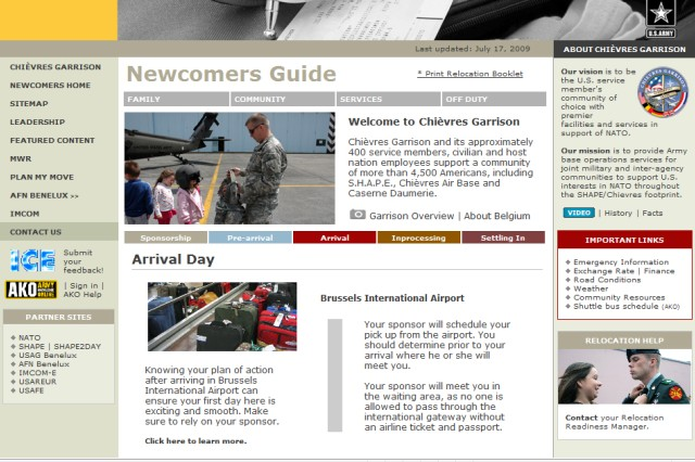 ChiAfA..vres Garrison launches newcomers Web site