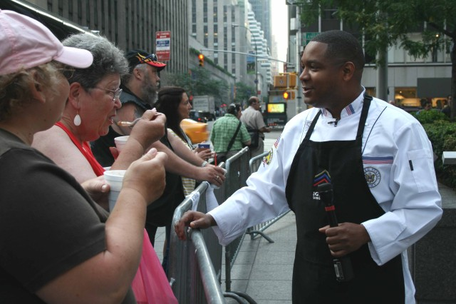 """Most New Yorkers probably did not expect to wake up to a bowl of gumbo on a Friday morning. But when Sgt. 1st Class Brad C. Turner Jr. served up this spicy Cajun favorite, it yielded nothing but smiles - and requests for seconds.  This was not the scene inside a local restaurant, but on the set of TV's FOX and Friends.  Turner appeared on the FOX morning show to talk about another show, """"The Grill Sergeants."""" An original Pentagon Channel program, this weekly, half-hour series features top military chefs offering nutrition and safety tips, as well as walking viewers through step-by-step food preparation."""
