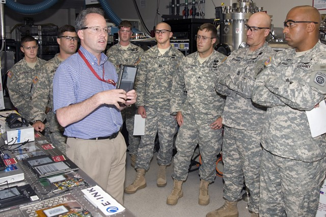Dr. Eric Forsythe, an ARL research physicist, explains electronic flexible display technology to 82nd Airborne Division Soldiers who visited the laboratory July 13 and 14, as part of an RDECOM initiative to have Soldiers and the scientists who support them exchange ideas and concerns.