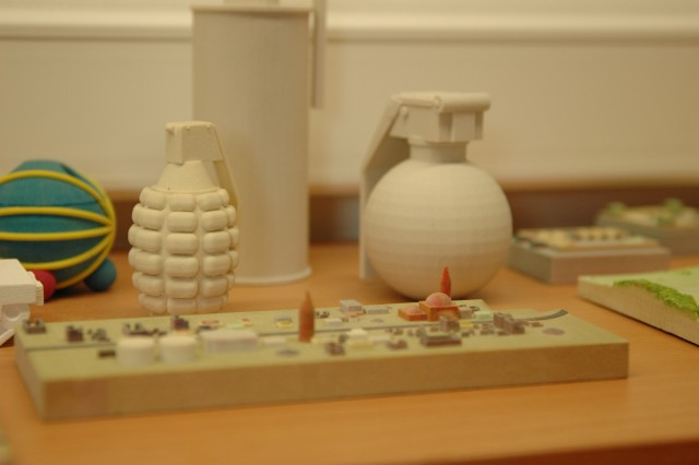 The Training Aids Production Center, part of the 7th Army Joint Multinational Training Command in Grafenwoehr, Germany,  produces high-quality models that are used by Soldiers training in Europe. Smaller objects, such as grenades and some maps, can be printed using 3-d printer.