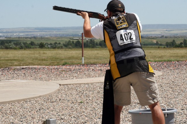 Spc. Vincent Hancock, U.S. Army Marksmanship Unit, competes in the skeet event during the U.S. National Shotgun championships, July 14. Hancock won gold at the National Championships for the first time, adding to his collection of first-place finishes worldwide, including the 2008 Olympic Gold Medal in the same event.