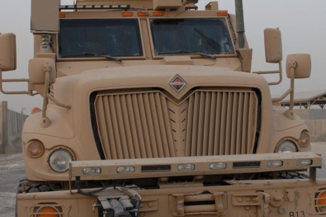 BAGHDAD - A Mine Resistant Ambush Protected Vehicle in 2nd Battalion 142nd Infantry Division, 56th Infantry Brigade Combat Team, stands ready for a convoy mission from Camp Victory in Baghdad past the city of Ar Rutbah in far western Iraq, June 22.