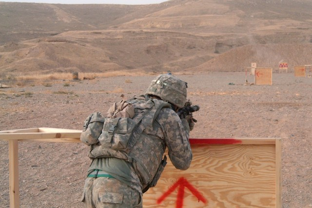 Soldier from 3rd Brigade Combat Team, 1st Cavalry Division at the firing hill during the Greywolf Best Warrior Competition July 16. The four day competition consisted of a nonstandard physical training test, a live fire stress shoot, casualty evaluation, various warrior tasks and a warrior competition board.