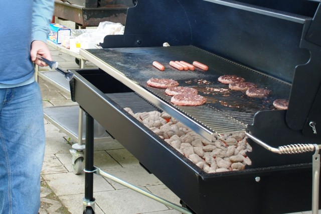 There are more than enough available BBQs on post to satisfy the most avid grill sergeants.  The picnic areas immediately behind the housing apartments and the Breitenau sports field BBQs are available year-round, and organizations can reserve the use of industrial-strength charcoal grills like this one at the Pete Burke Community Center.