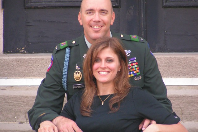 1st Lt. Dennis Chamberlain and his wife, Jennifer, now a private first class and X-ray technician in the Reserves.