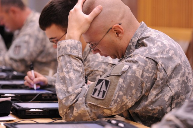 Soldiers complete the electronic PDHRA Health Questionnaire (DD Form 2900).