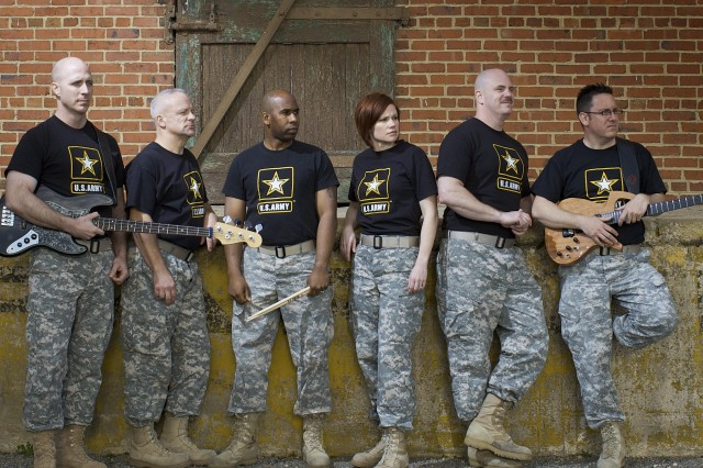 The Volunteers of The United States Army Field Band. Pictured (from left) Sgt. 1st Class Pete Krasulski, Master Sgt. Kirk Kadish, Staff Sgt. Gerald Myles, Sgt. 1st Class April Boucher, Staff Sgt. Randy Wight and Staff Sgt. Tom Lindsey.