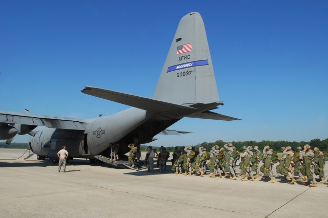 In a mass exit, 30 Soldiers jump from doors on both sides of the aircraft. The jumps are staggered by instructors aboard the aircraft to prevent Soldiers from having in-air collisions.