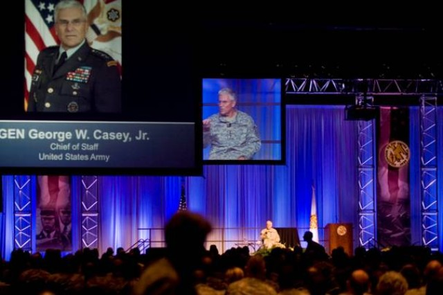 Chief of Staff of the Army Gen. George W. Casey Jr., answers questions at the III Corps Senior Leader offsite meeting in San Antonio, Texas, on July 23, 2009. Gen. Casey shared his perspectives on the current state of the Army and answered questions from the audience.