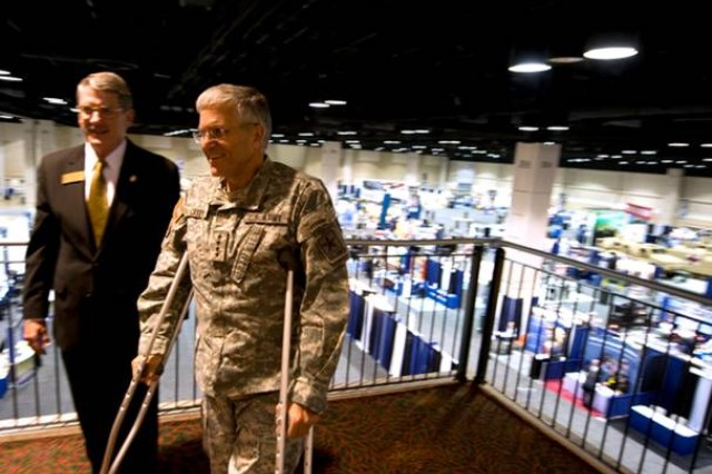 Chief of Staff of the Army Gen. George W. Casey Jr., is shown the displays and booths of the 2009 Association of the United States Army's Medical Symposium in San Antonio, Texas, on July 23, 2009.