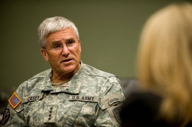 Chief of Staff of the Army Gen. George W. Casey Jr., talks with members of the press after his address at the 2009 Association of the United States Army's Medical Symposium in San Antonio, Texas, on July 23, 2009.