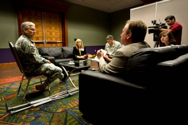 Chief of Staff of the Army Gen. George W. Casey Jr., talks with members of the press after his address at the 2009 Association of the United States Army\'s Medical Symposium in San Antonio, Texas, on July 23, 2009.