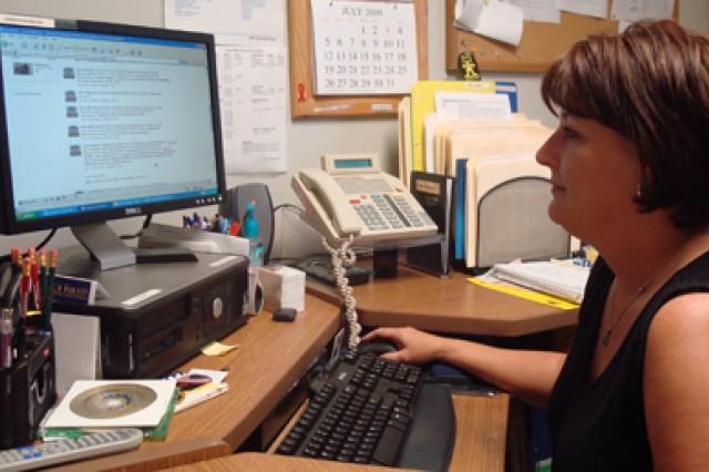 Tresa Lawson, community relations officer, updates Fort Polk's Facebook page.