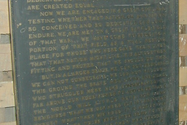 The original Gettysburg Address plaque that was produced at Rock Island Arsenal a century ago.