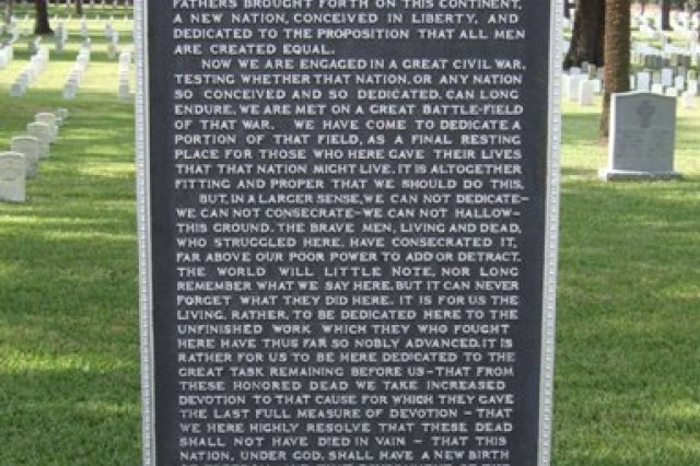 The new Gettysburg Address plaque resides at an unknown National Cemetery.