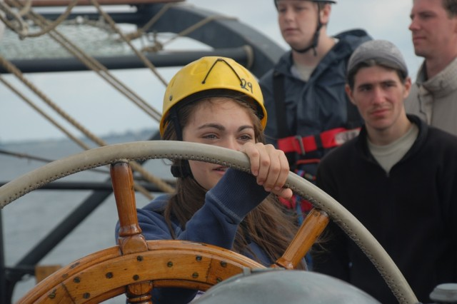 Manning the helm was a well-earned duty for almost 50 teenagers who experienced the Camp A.R.M.Y Challenges tall ship adventure in 2007.